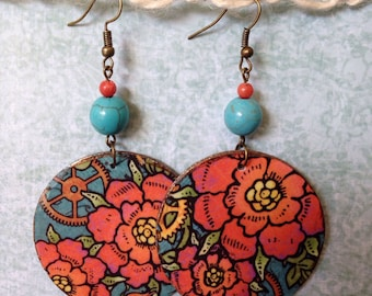 Up-cycled Floral Steampunk Cardboard Earrings, decoupage paper earrings
