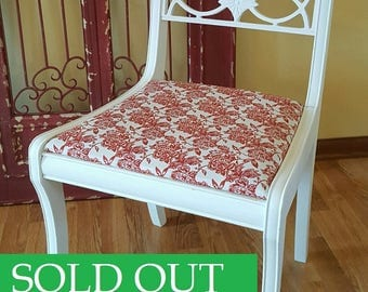 SOLD OUT - Accent Chair with Red Floral Seat, Wood