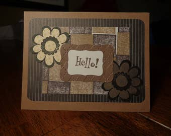 Brown and black hello card