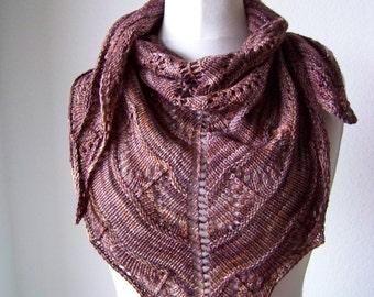 Shawl Knitting PATTERN PDF, Knitted Shawl Pattern, Lace Shawl Wrap Triangle Shawl -Coffee Toffee Shawl