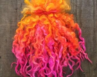 "Teeswater Locks, Doll Hair, Spinning Locks,  Hand Dyed Wool Long Locks, Pink/Yellow/Orange, Silky Soft Curly Locks, ""Pixie Dust"" 1 ounce"