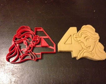 Belle Cookie Cutter with the number 4. Great for any fourth birthday party. Celebrate their 4th year with Beauty and the Beast cookies!