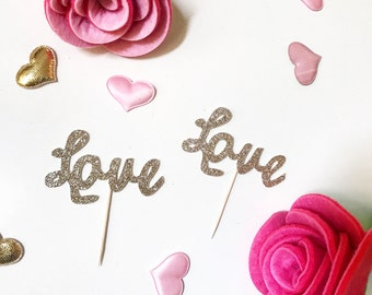 Love Cupcake Toppers; Valentine's day Cupcake Topper; Love; Glitter Cupcake Topper; Wedding Cupcake Topper;Bridal Shower Topper
