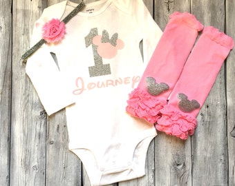 Personalized pink and silver minnie mouse first birthday onesie, pink silver minnie mouse 1st birthday outfit, pink legwarmers silver minnie