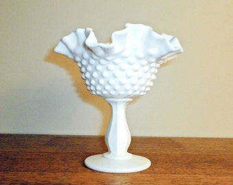 Fenton Milk Glass Footed Compote