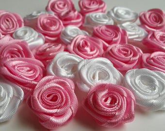 Satin flowers, ribbon roses, satin roses, pink roses, little roses, craft flowers, rose appliques, rose patch, approx 1 in x 30