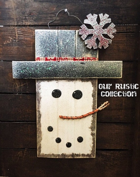 Rustic wood holiday snowman christmas decor by for Rustic snowman decor