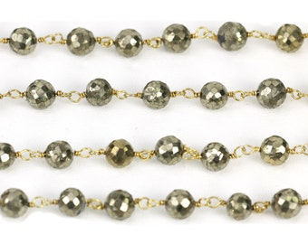 "Pyrite Beaded Rosary  Chain Style  Yellow Plated Silver Chain Link ""Custom Made"", Diamond Findings, Beaded gemstone, gemstone chain, fancy"