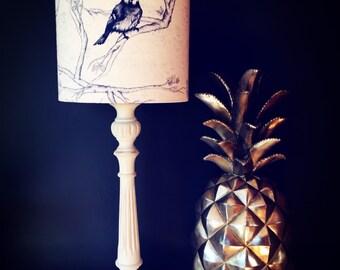 DRUM LAMPSHADE - designer dark blue bird shade in Tradescant & Son, Cyanistes