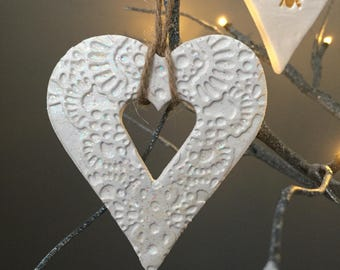 Large white ceramic hanging heart decoration