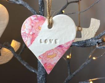 SALE! 'Love' hanging heart decoration with string hanging loop