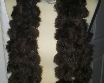 Rabbit fur pompom scarf chocolate brown