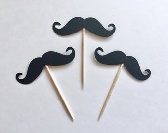 12 Mustache Cupcake Toppers. Black Mustache Decor. Mustache Party. Mustache Birthday. Baby Boy Shower. Mustache Shower. Cupcake Decor.
