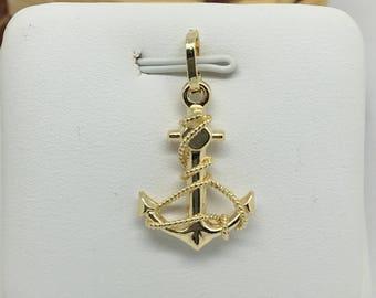 14K Yellow Gold Anchor Pendant