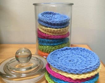 Crocheted face scrubbies set - cotton scrubbies - bath and shower gift - organic skincare set - exfoliating accessory - reusable face wipes