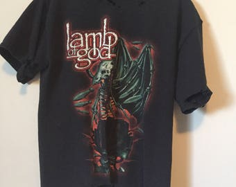 Custom distressed lamb of god metal t-shirt black mens medium