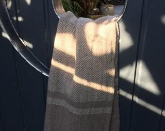 Handmade 100% natural wool woven shawl