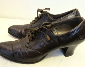 Women's Gorgeous,Vintage 1933,Brown Re-Soled EDWARDIAN era,Hi Heel Shoes By FOOT-so-PORT.9.5 3A