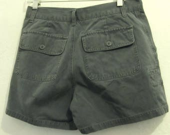Women's Vintage 90's,Gray Flat Front Cargo Khaki Shorts By AMERICAN EAGLE Supply.6