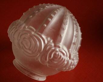 Light Shade Art Deco opaque glass helmet shape with rose pattern