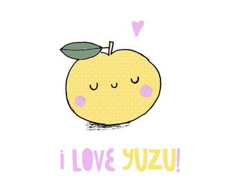 Valentine's Day Funny Card - I love yuzu - Cute + kawaii Japanese pun!