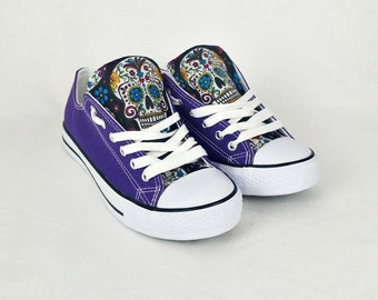Purple shoes, purple skull shoes, custom converse, women shoes, sugar skulls, day of the dead, custom shoes, alternative, gift for her, alt