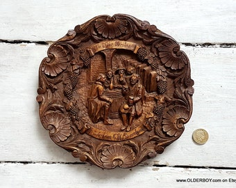 IN VINO VERITAS wooden resin carved plate 3D Rudesheim am Rhein vtg wooden carved dish plate wall decor decorative plate home decor O11/662