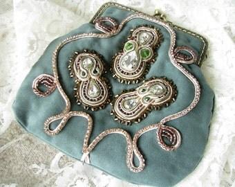 Green clutch Small handbag Evening clutch Bohemian clutch Victorian clutch Embroidered clutch Designer handbags Gift for women Statement bag
