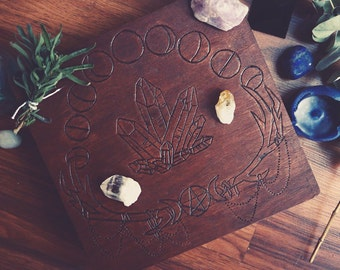 Antler lunar phases crystal / witches box , wiccan