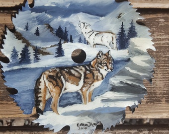8in hand painted saw blade featuring wolves