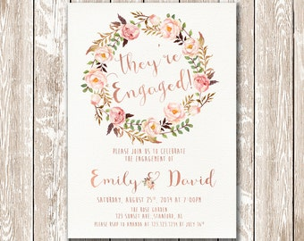 Engagement invitation printable, Rose Gold floral engagement party invitation, We're engaged, Engagement party invites PF-18