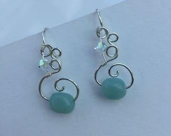 Aquamarine and Swarovski Crystal Silver Earrings