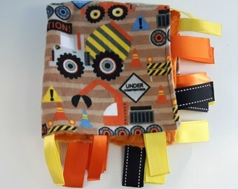 Construction Blanket  - Boy Security Blanket - Orange Tag Blanket - Truck Blanket - Baby Boy Blanket - Soft Boy Blanket