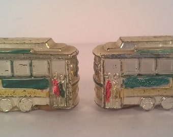 Vintage Ceramic Trolley Salt and Pepper Shakers Set