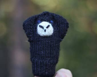 Lop Eared Bunny Knit Wool Finger Puppet, Black