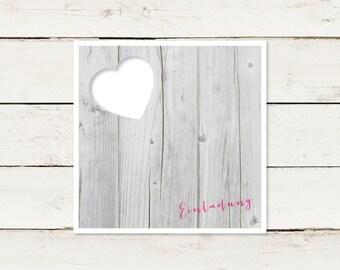 50 x wedding invitation | Wood look. No 2