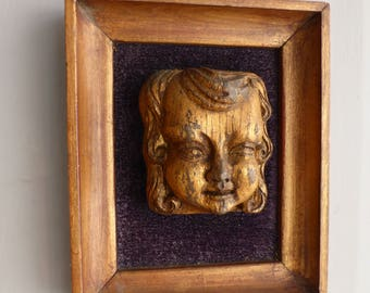 Antique Medieval framed carved oak gilt face originally from a church