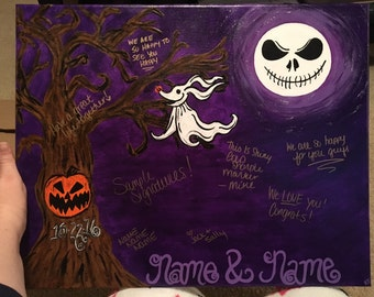 Wedding Guestbook Alternative | Halloween Wedding | Canvas Signature Guestbook | Unique Guestbook | Custom | Nightmare Before Christmas
