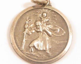 Signed Eta Catholic Vintage Sterling Silver St.Christopher Necklace Pendant*Y613