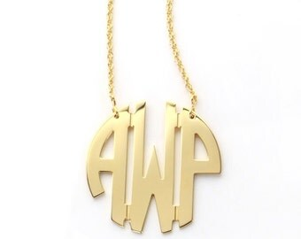 Medium Gold Plated Circle Monogram Necklace