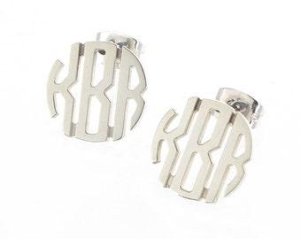 Small Sterling Silver Circle Monogram Stud Earrings