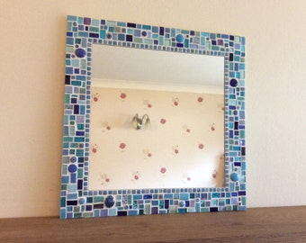 Mosaic Bathroom Wall Mirror in shades of Blue / Turquoise / Aqua / Teal 40cm Wall Art