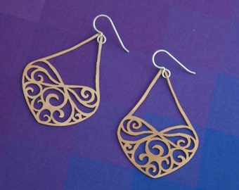 Infinite Love Delicate Lace-Inspired Bronze Earrings