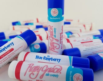 Lip Balm-All Natural Lip Balm-Blue Raspberry Lip Balm-Lip Gloss-Chapstick-Chapped Lips-Natural Chapstick-Handmade Lip Balm