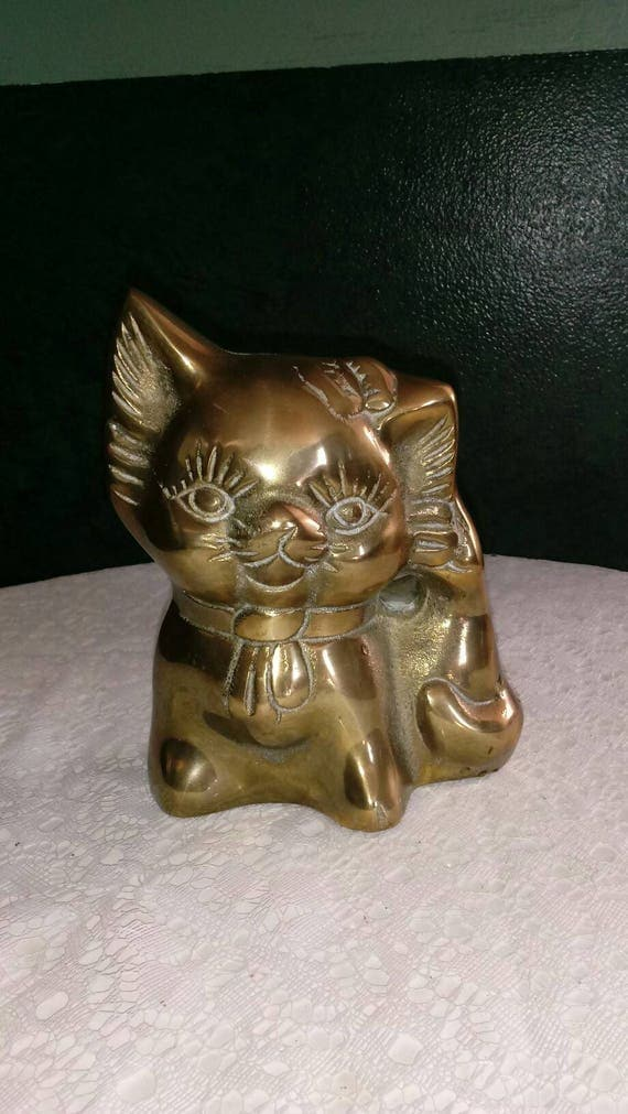 Beautiful Vintage Brass Animal Cat Figure Money Bank Coin Box Very Cute Korea