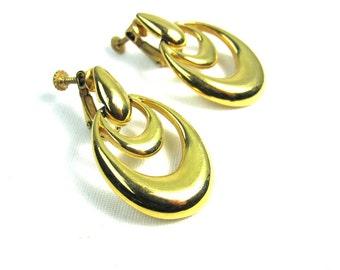 Napier Gold Dangle Clip On Earrings, Gold Tone Loop Earrings