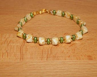 Super duo pryamid beaded bracelet # B299