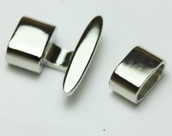 T-Bar Hook and eye Glu in jewelry clasps,  Rhodhium leather jewelry clasps, t-bar Glu in silver clasps, SS424, ships USA
