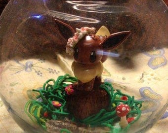 Polymer clay terrarium | eevee figurine | serena's eevee from pokemon with floral crown | polymer clay habitat