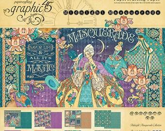 "Free shipping Graphic 45 ""Midnight Masquerade"" 12 x 12 Pad"